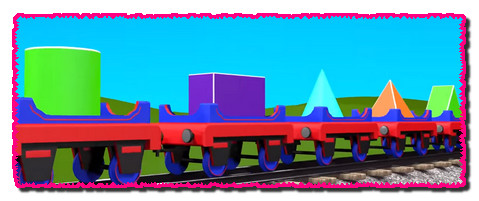 Shapes for kids kindergarten toddlers preschoolers. Shape train. Choo-Choo and 3D shapes. Cartoon