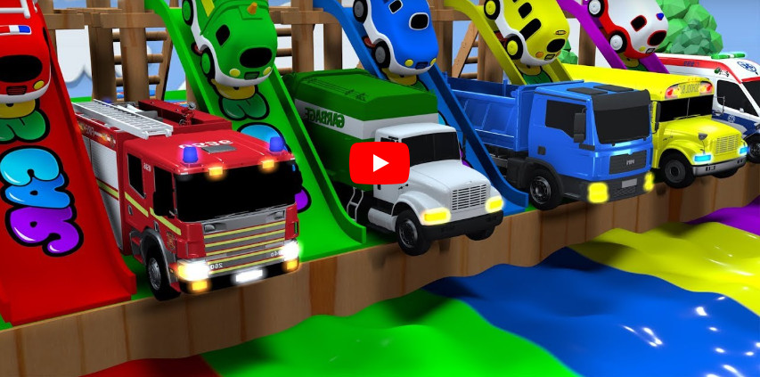 Learning Colors city Vehicle car carrier Fire truck police car jumping Play for kids car toys