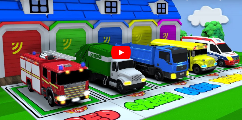 Learning Colors pacman and city Vehicle car carrier Fire truck jumping Play for kids car toys