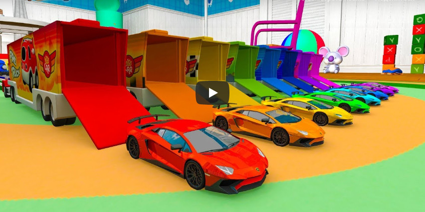 Learning Colors numbers with city sports cars truck carrier Play Nursery rhymes for kids car toys